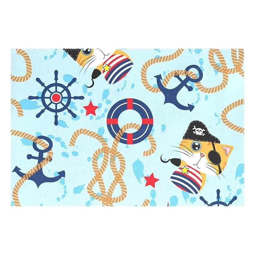 コンパクトシャットサークルランチョンマット ねこ イカリ 深海 6枚セット 義務用 断熱 撥水 防汚 速乾 水洗いOK 耐久性 シワに対する 家庭用 シンプル 便利 お手入れ 便利
