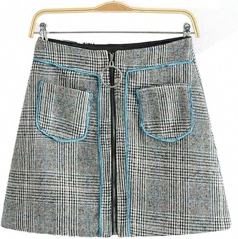 Dawery Womens Vintage Houndstooth Plaid Pockets Skirt Faldas Mujer Zipper Ring Ladies Fashion Streetwear Casual Mini Skirts