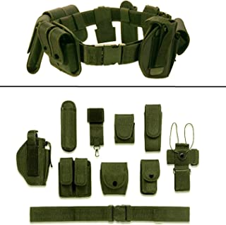 Ultimate Arms Gear OD Olive Drab Green 10pc Police-Law Enforcement-Security Gear Modular Nylon Duty Belt With Pistol/Gun Holster Fits Glock Handgun