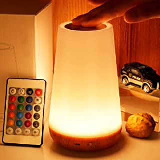 LED night light, TAIPOW bedside table lamp for baby kids room bedroom outdoor, dimmable eye caring desk lamp with color ch...