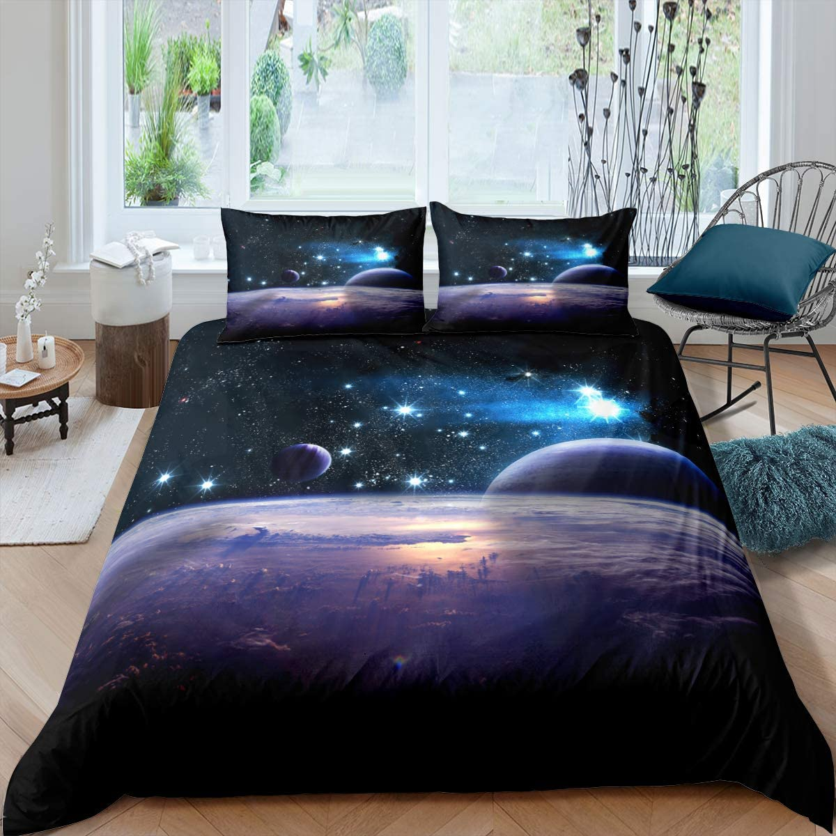 Queen 3-Piece Galaxies Comforter Sets 3D Printed Space Overseas parallel Max 83% OFF import regular item - Themed