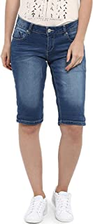 KVL Womens Solid Regular Fit Cotton & Polyester Woven Denim Bermuda Shorts (Blue)