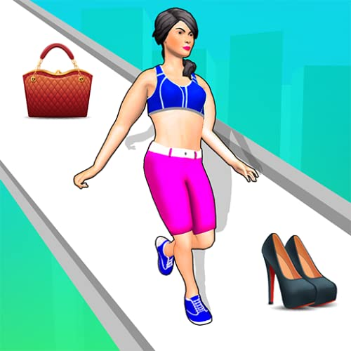 Catwalk girl beauty body fashion race for battle run to dressup & win show this makeover games 2021.Enoy catwalk hair race with body runner bounce project challenge to collect cash on bridge 3d game