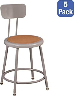 Learniture Heavy Duty Steel Lab Stool with Backrest, Adjustable-Height, Gray, NOR-TY-538A-18B-PK (Pack of 5)