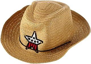Blackfell 麦わら帽子子供子供カウボーイ麦わら帽子防風キャップ夏ビッグワイドつばサンボネット