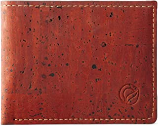 Corkor Cork Wallet for Men   Vegan Cruelty Free Non Leather   Bifold Cards Cash Red Color