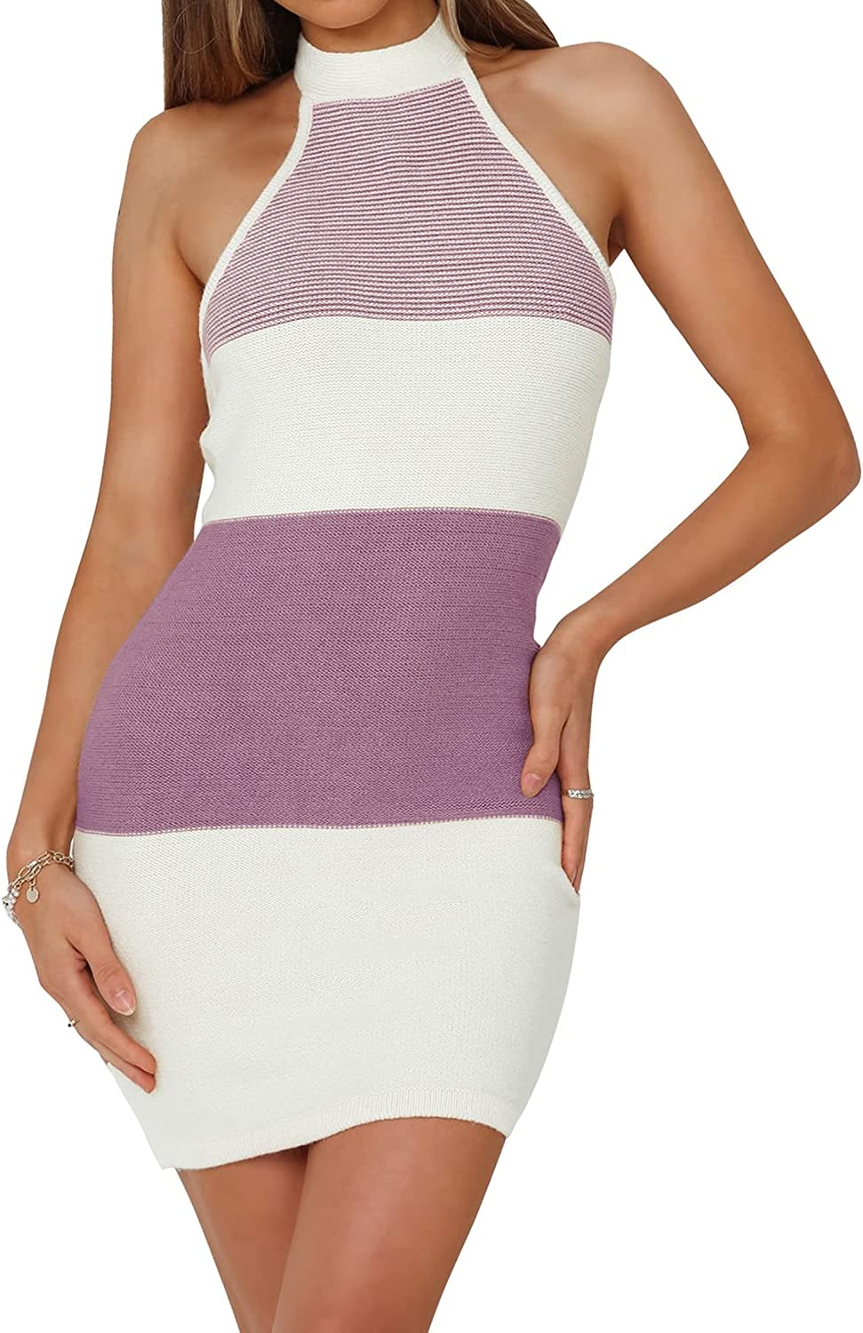 ZOWODO Women's Halter Neck Sleeveless Striped Color Block Backless Bodycon Knitted Sweater Mini Dress