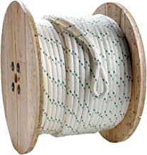 Pulling Rope (3/8 inch) - SGT KNOTS - Double Braided Polyester Rope with Eye Loop - White with Green Tracer - Moisture, UV, Chemical Resistant - Ranch, Commercial, Marine, Winching (300 feet)