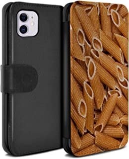 eSwish PU Leather Wallet Flip Case/Cover for Apple iPhone 11 / Penne Pasta Design/Food Collection