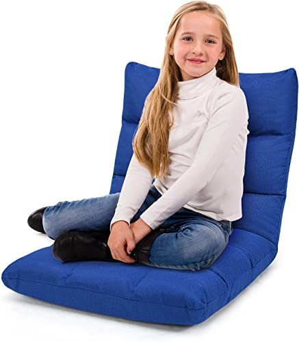 new arrival Giantex Floor Sofa Chair Video Gaming Chair with 14 Adjustable Position, Padded Back Support Floor Cushioned Seat, Folding Lazy Chair lowest for Meditation, Reading, Watching, Living outlet sale Room Recliner(Blue) outlet sale