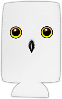 TooLoud Cute Snowy Owl Face Collapsible Neoprene Tall Can Insulator