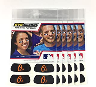 (24 Strips) Eye Black - Baltimore Orioles MLB Eye Black Anti Glare Strips, Great for Fans & Athletes on Game Day