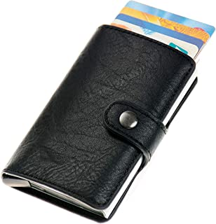 Pop Out Credit Card Wallet with RFID Blocking, Metal Credit Card Holder with Leather