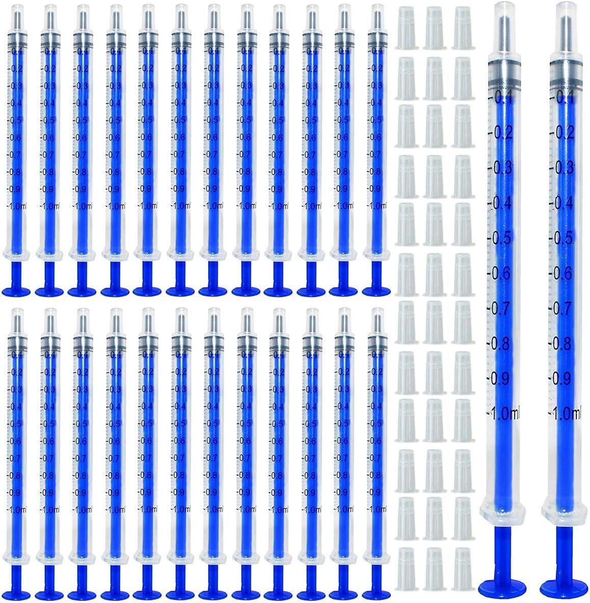 Gebildet 100pcs 1ml Jeringa de Plastico(sin aguja) con Tapas, Jeringa Desechable, para Alimentar Alimentos o Medicinas a su Mascota, Perfumes, Lubricantes, Sellantes etc.