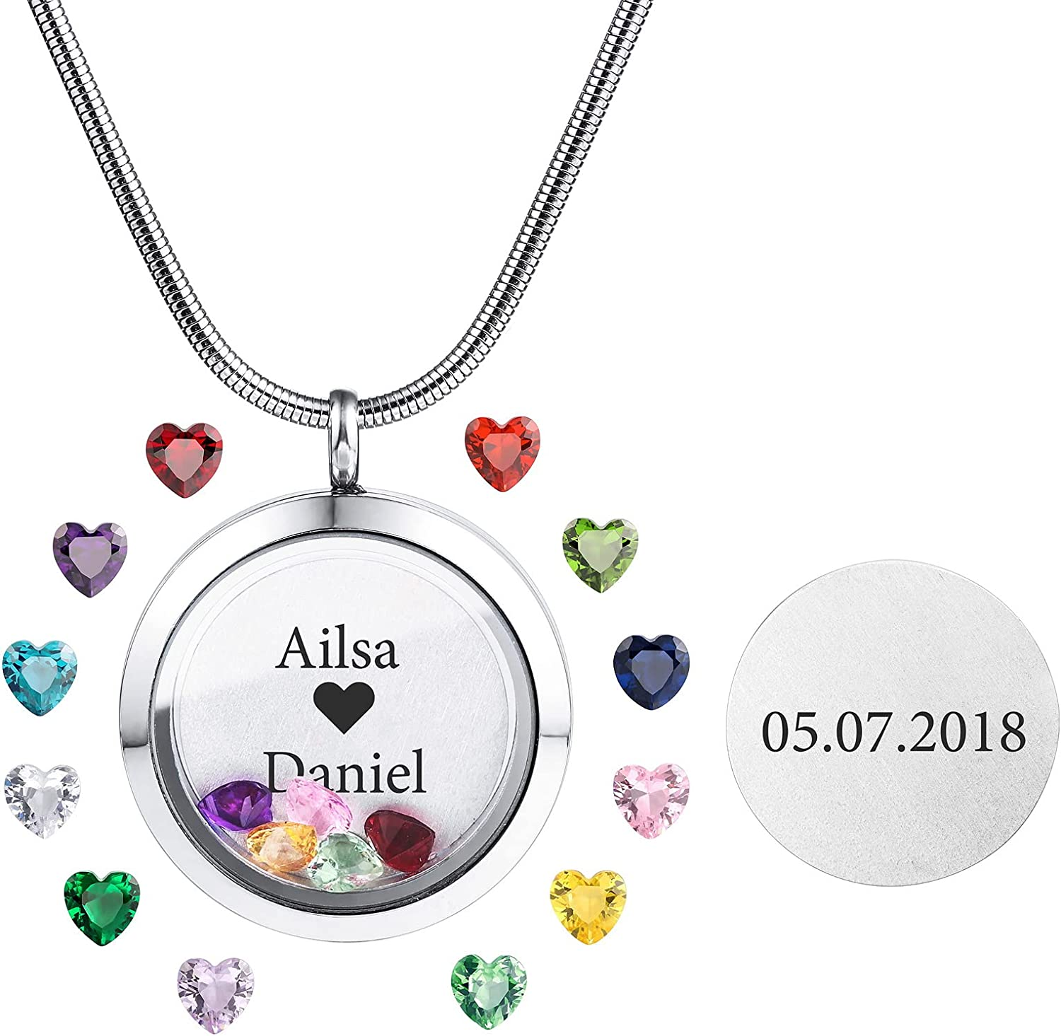 INBLUE It is very popular Personalized Floating Locket Pendant Necklace Engraving P Super beauty product restock quality top