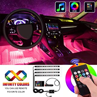 Interior Car Lights, Atmosphere Lighting Car Multicolor Waterproof Kit with Sound Active Function and Wireless Control, Car Charger Included by Yuzhe.
