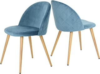 GreenForest Dining Chairs Set of 2, Mid Century Modern Kitchen Chairs Velvet Upholstered Accent Leisure Chairs for Living Room, Blue