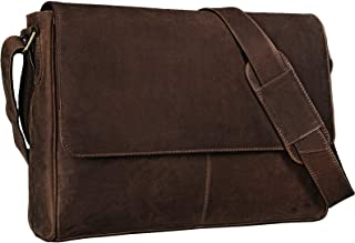 """STILORD Oskar"""" Umhängetasche Laptoptasche 15 Zoll aus echtem Leder Messenger Bag Business Vintage Look, Farbe:dunkel - braun"""