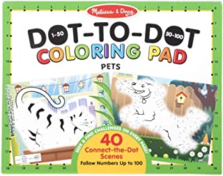 "Melissa & Doug 123 Dot-to-Dot Pets Coloring Pad (Connect The Dots 1-100 and Seek & Find Activities; 40 Scenes, 11"" x 14"")"