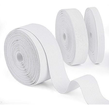 2 x 2 m blanc coudre couture élastique plat largeur 25 mm longueur Poche Extensible