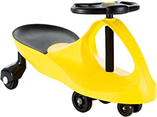 Ride On Car, No Batteries, Gears or Pedals, Uses Twist, Turn, Wiggle Movement to Steer Zigzag Car-Yellow, for Toddlers, Ki...
