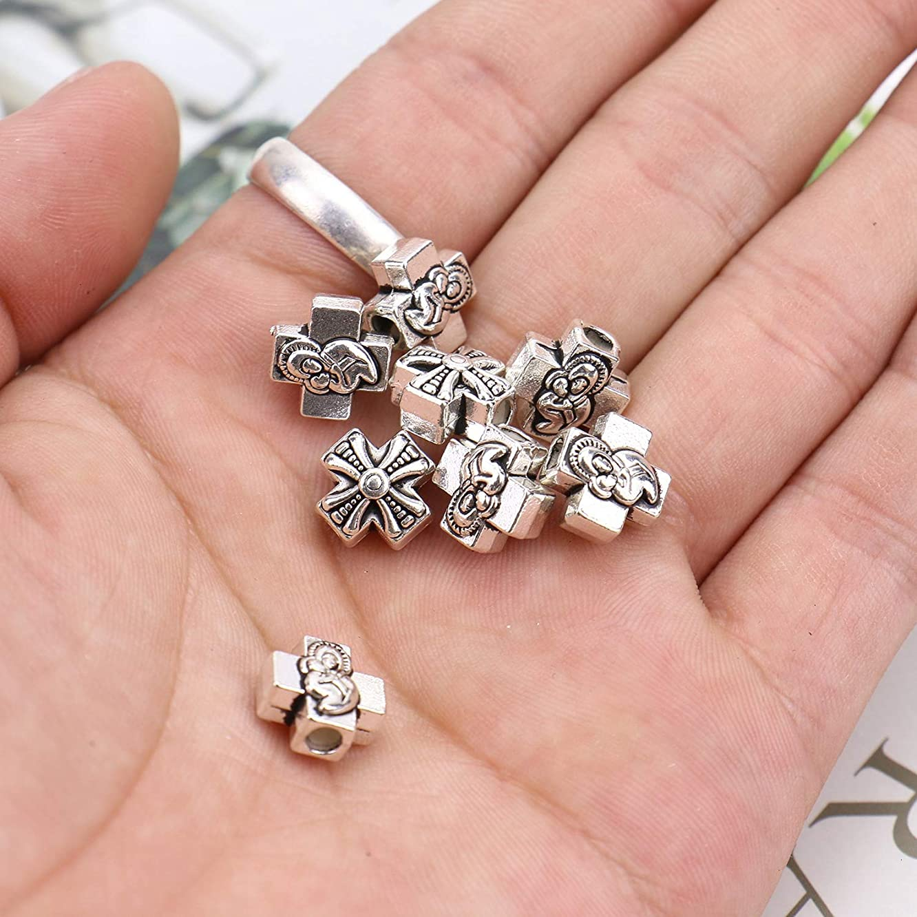 Monrocco 60 PCS Antique Silver Tone Cross Spacer Beads for Jewelry Making Necklace Pendants