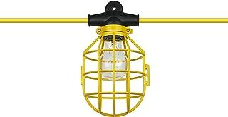 Sunlite EX50-14/2/SL Commercial-Grade Cage String, 50-Feet, 5 Medium Base Sockets (E26), Indoor, Outdoor, Construction Lighting, ETL Listed, Foot, Yellow