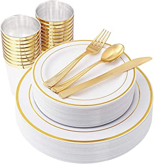 IOOOOO Gold Plastic Plates & Plastic Silverware & Gold Cups 150 Piece, Premium Disposable Dinnerware Set Includes: 25 Dinner Plates, 25 Dessert Plates, 25 Tumblers , 25 Forks, 25 Knives, 25 Spoons