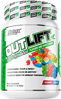 Nutrex Research Outlift   Naturally Sweetend and Flavored Pre-Workout Powerhouse   Citrulline, BCAA, Creatine, Beta-Alanine, Taurine, Banned Substance Free   20 Servings (Gummy Bear)