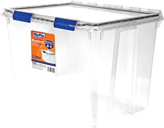 Hefty PROTECT Heavy Duty Storage, 70 Qt. Lid with Protective Seal / Clear, set of 2
