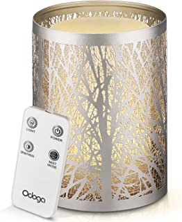 Odoga Aromatherapy Essential Oil Diffuser with Decorative Iron Cover, Ultrasonic Quiet Cool Mist Humidifier with Warm White Color Candle Light Effect, Remote Control & Low Water Auto Shut-Off