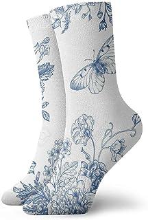 tyui7, Patrón vintage con ramo de flores azules en peonías blancas Rosas Calcetines de compresión antideslizantes Calcetines deportivos acogedores de 30 cm para hombres, mujeres y niños