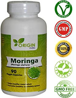 ORIGIN INDIA Moringa Capsules, 90 Veggie 1000 Mg Pure Moringa Extract Capsules, Natural way to support weight loss, 100% Natural Remedy for Energy & Metabolism Booster