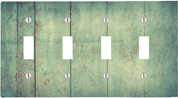 Moonlight Printing Vingage Wood Beach Wood Weathered 4 Toggle Electrical Switch Wall Plate 8 38 X 4 69in