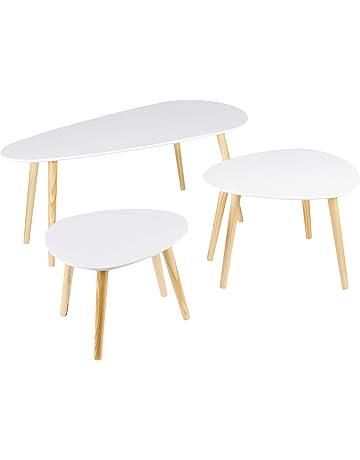 60 x 40 x 45 cm//45 x 30 x 40 cm Nero Set di 2 Tavolo Bassi Divano Triangolari in MDF Moderno Tavolino Bianca//Nero per Caffe Ufficio Cusine Sala da Pranzo Tavolino da Salotto Moderno Legno