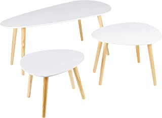 Dolmen - Juego de 3 mesas Bajas diseño escandinavo Color Blanco