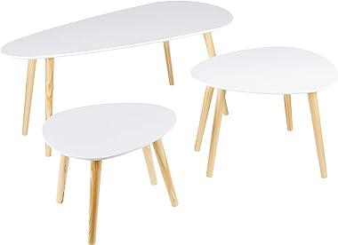 Dolmen Set de 3 Tables Basses Gigognes Scandinaves Blanc