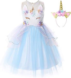 JerrisApparel Dziewczęcy kostium jednorożec z kwiatami, na wesele, imprezę,