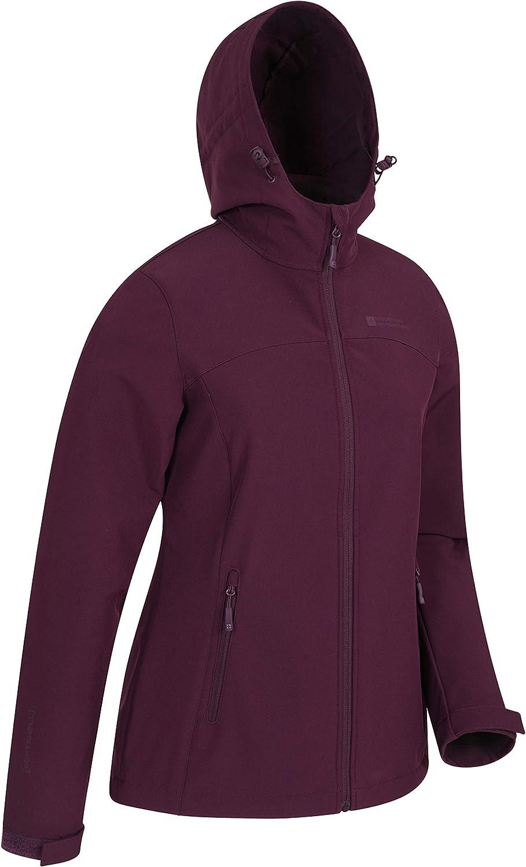 Mountain Warehouse Exodus Wasserabweisende Softshell-Damenjacke - atmungsaktive Regenjacke, länger im Rücken - großartig zum Spazierengehen, Reisen, Wandern, Frühling Burgundrot