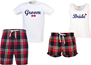 60 Second Makeover Limited Bride and Groom Couples Matching Pyjama Tartan Shorts Set Couples Dog Bulldog