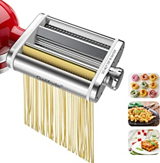 Galifode 3 in 1 Stainless Steel Pasta Maker Attachment for Kitchenaid Stand Mixers, Pasta Sheet Roller,Spaghetti Cutter,Fe...