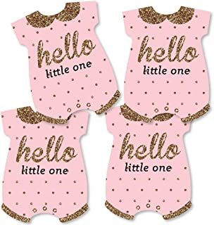 Hello Little One - Pink and Gold - Baby Bodysuit Girl Baby Shower Decorations DIY Party Essentials - Set of 20