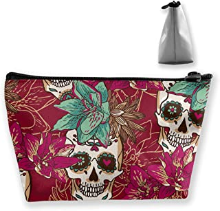 Makeup Bag Cosmetic Skull And Flower Portable Bag Mobile Trapezoidal Storage Bag Travel Bags With Zipper