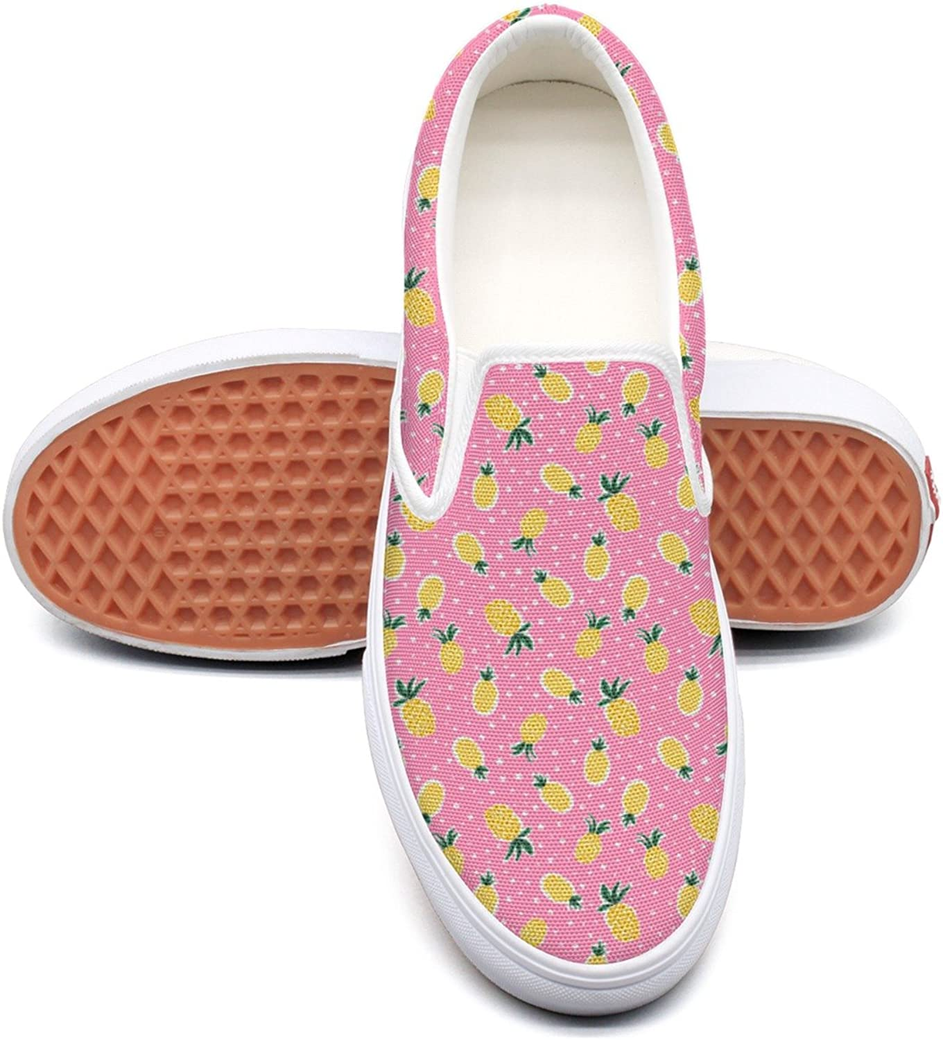 Lalige Pineapples Women's Cute Canvas Slip-on Travel shoes
