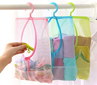 TFY Hanging Mesh Storage Organizer Bag with 360°Rotation Hanger for Kitchen, Bathroom and Wardrobe(11.8 inch X 10.2 inch, ...