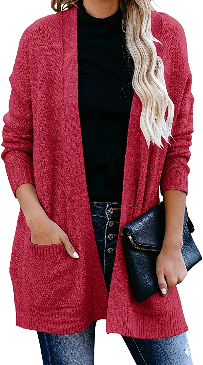 YeMgSiP Womens Long Sleeve Cardigan Soft Knit Cardigans Sweater Open Front Solid Side Split Outwear with Pockets