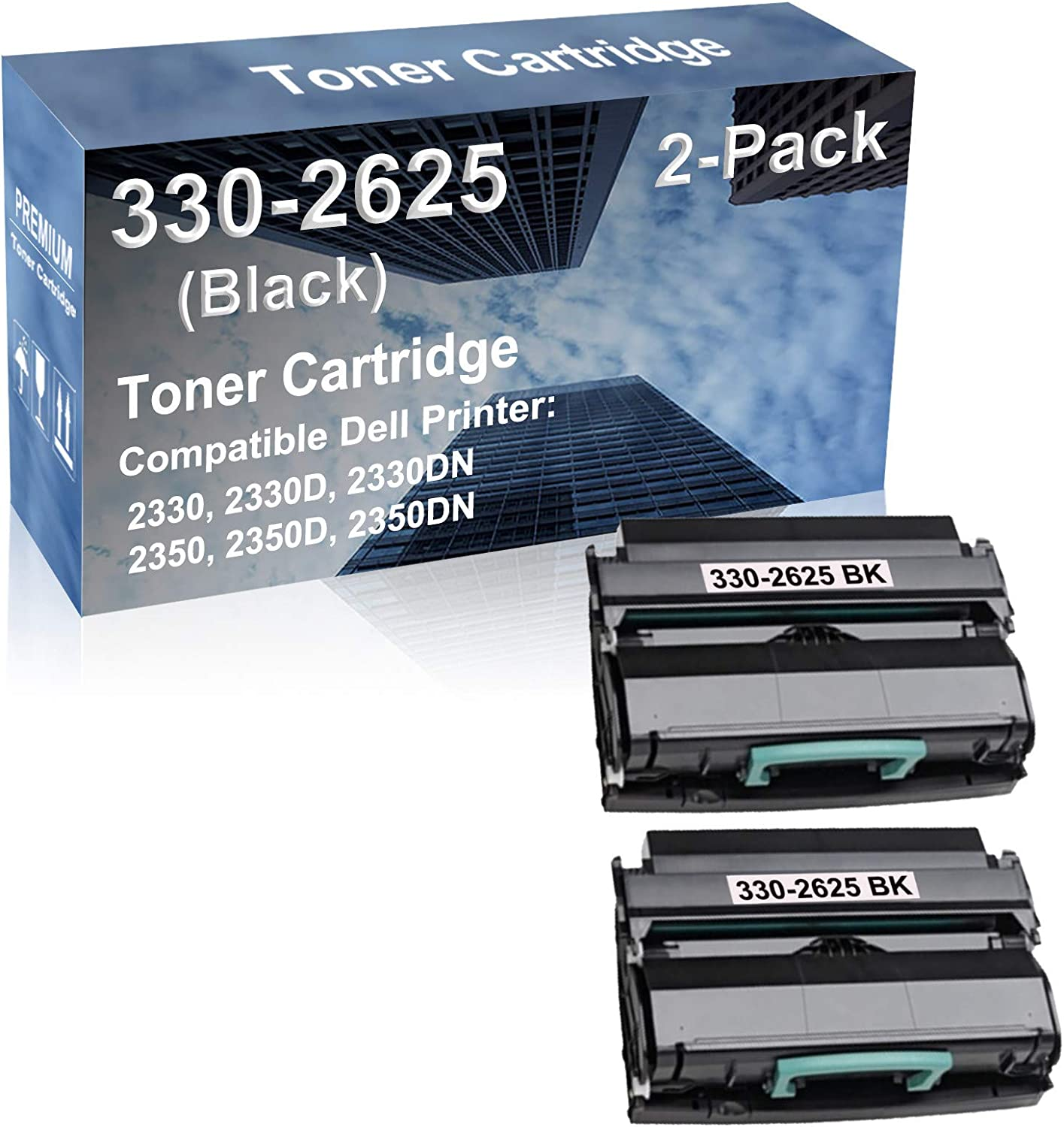 2-Pack Compatible High Capacity 330-2625 Imaging Toner Cartridge use for Dell 2330, 2330D Printer (Black)