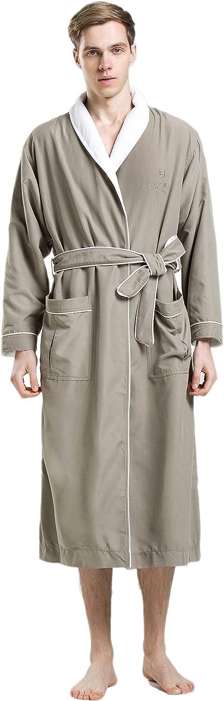 LOEWS Men's SPA Robe Free shipping New Bathrobe - Grey Wh Green Shell Year-end gift Microfiber