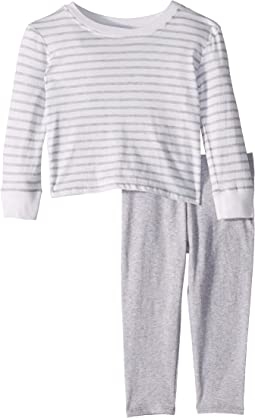 Yarn-Dye Stripe Ruffle Back Top Set (Toddler)