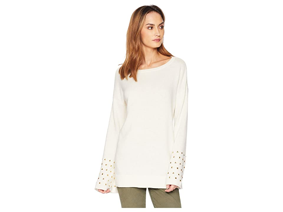 MICHAEL Michael Kors Drop Shoulder Stud Sleeve Sweater (Bone) Women